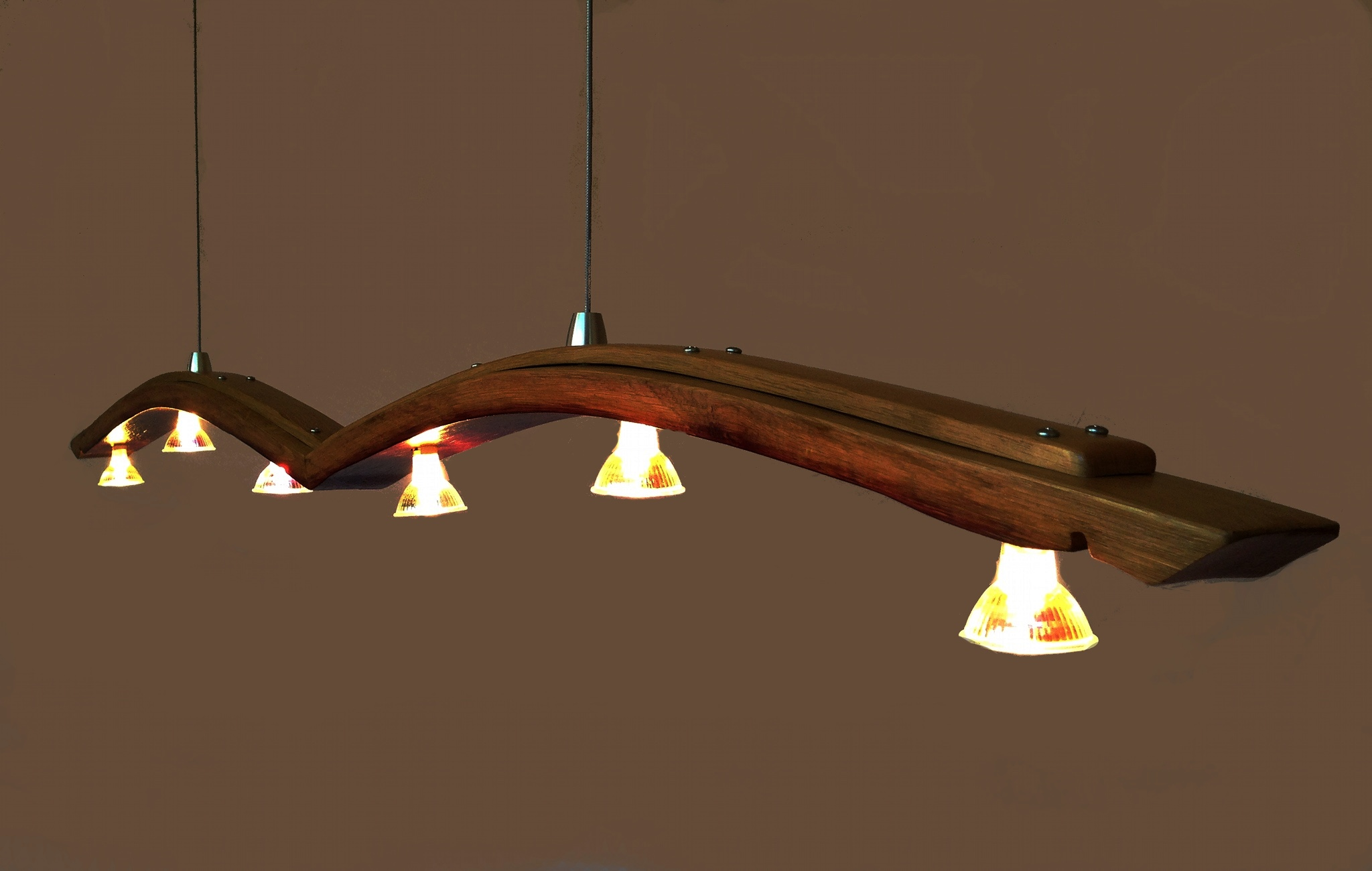 Seagull Recycled Wine Barrel Stave Long Pendant Light Kitchen - Long kitchen island lighting