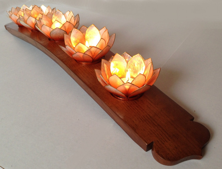 Lotus Candleholder Recycled Oak Wine Barrel Stave 5