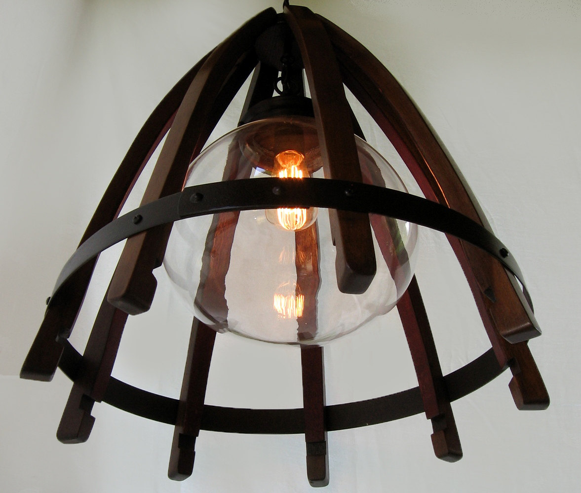 Medusa recycled oak wine barrel staves hoop hanging pendant light medusa recycled oak wine barrel staves hoop hanging pendant light ceiling lamp with glass shade aloadofball Images