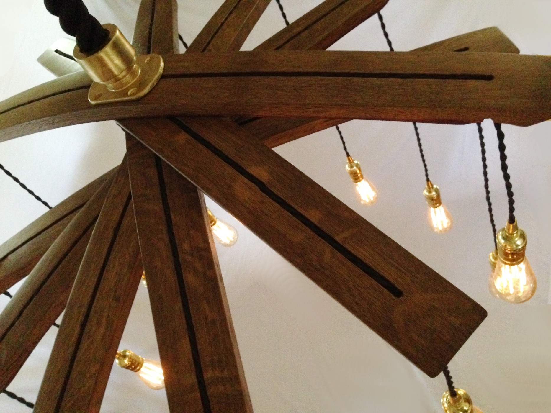Recycled Wine Barrel Staves Large 12 Lights Chandelier