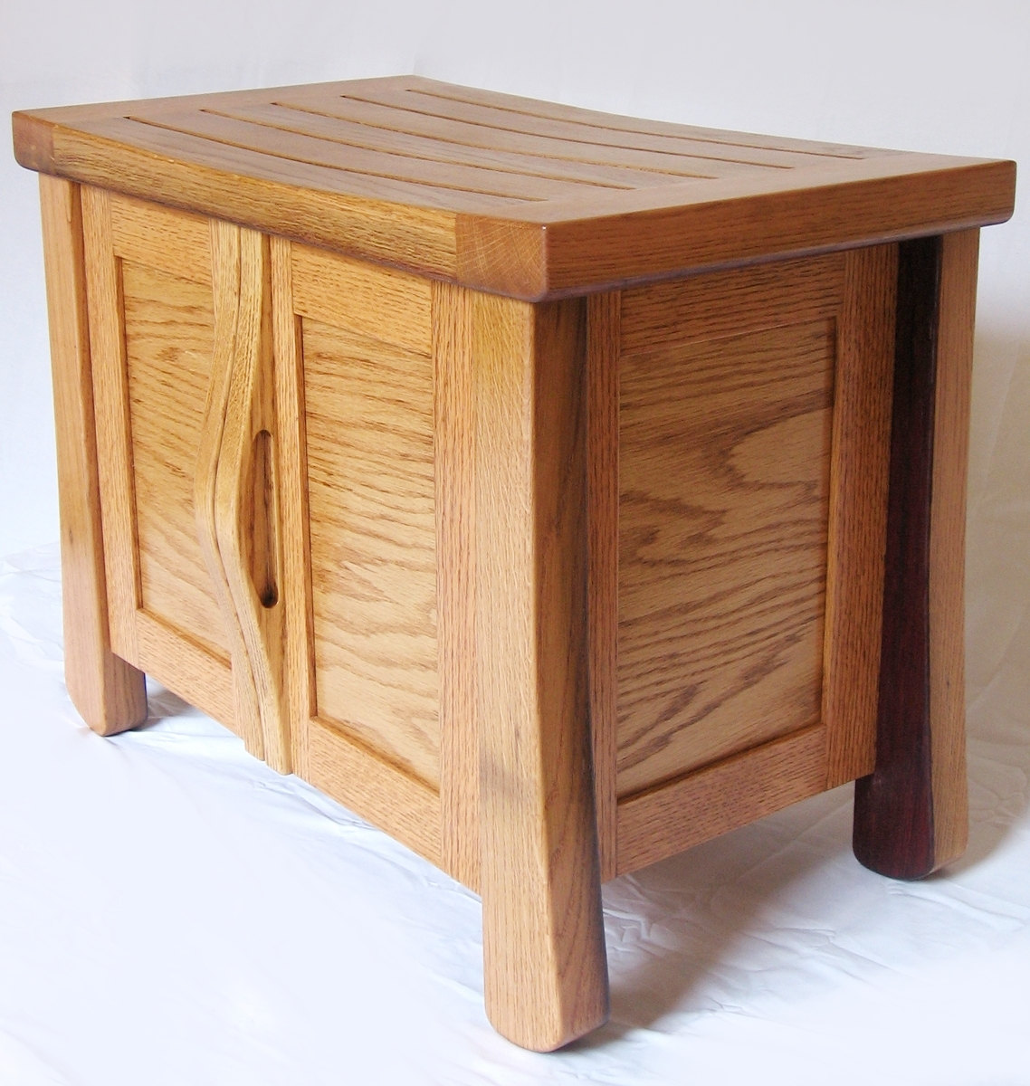 Elf Small Oak Cabinet Bench Recycled Wine Fermentation